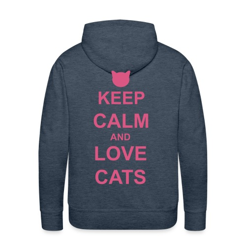 Keep Calm and Love Cats - Pink - Men's Premium Hoodie