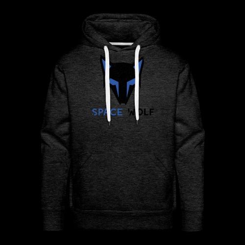logo lobo space wolf negro azul - Sudadera con capucha premium para hombre