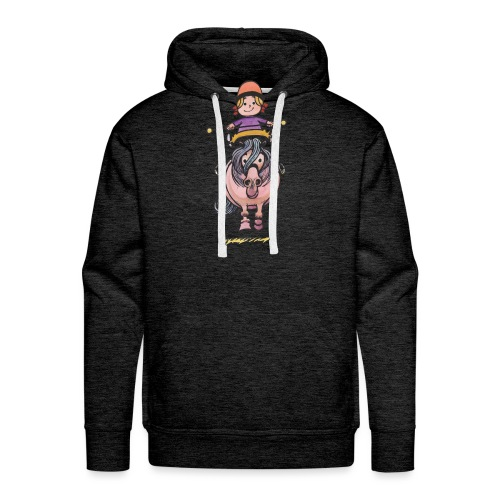 Thelwell Rider Balancing On Cute Horse - Men's Premium Hoodie