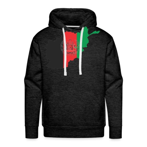 Afghanistan Flag in its Map Shape - Men's Premium Hoodie