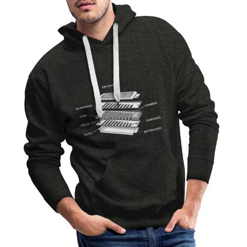 Exploded harmonica - white text - Men's Premium Hoodie