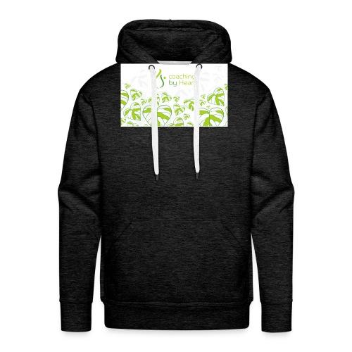 logo hvit og grønn coaching by heart - Premium hettegenser for menn