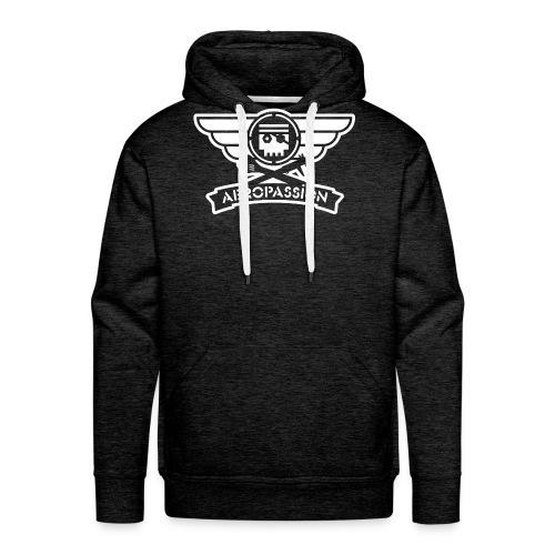 AEROPASSION logo blanc ps - Sweat-shirt à capuche Premium pour hommes
