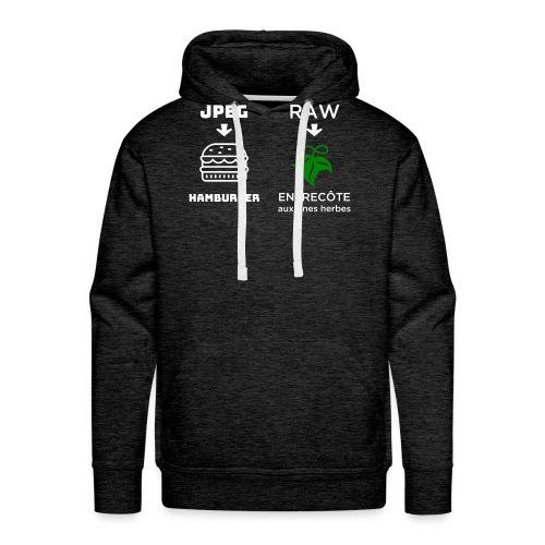 JPEG vs RAW - Sudadera con capucha premium para hombre