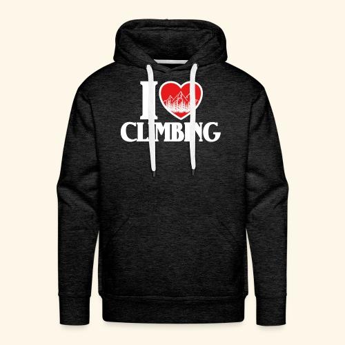 I Love Climbing Ich liebe Klettern Herz Berge Wald - Männer Premium Hoodie