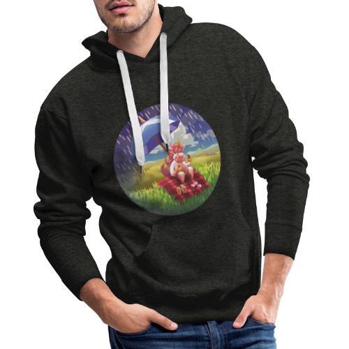 Licorne en Ecosse - Unicorn in Scotland - Sweat-shirt à capuche Premium pour hommes