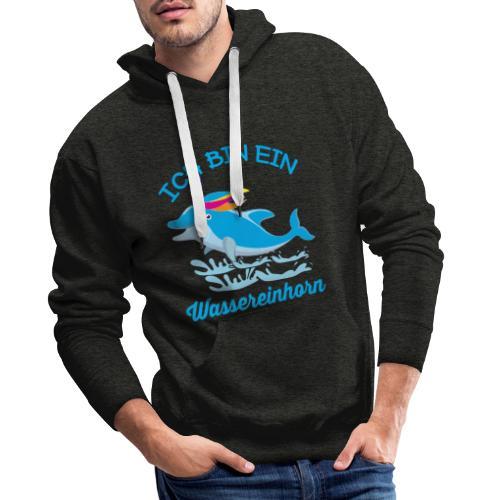 Wassereinhorn Delphin schwimmt im Meer mit Horn - Männer Premium Hoodie