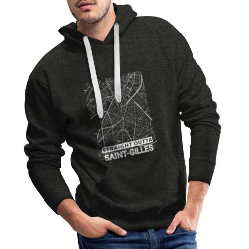 Straight Outta Saint-Gilles city map and streets - Men's Premium Hoodie