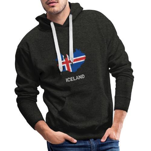 Iceland ( Island ) country map & flag - Men's Premium Hoodie