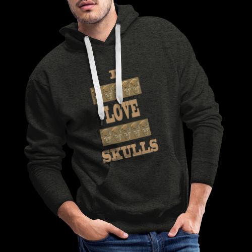 J'AIME LES TÊTES DE MORT - Sweat-shirt à capuche Premium pour hommes