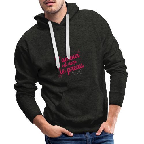 L'amour est dans le préau (lettrage rose et blanc) - Sweat-shirt à capuche Premium pour hommes