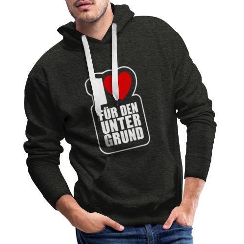 1 Herz für den Untergrund - Logo weiß - Männer Premium Hoodie
