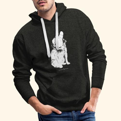 white vintage French Bulldog - Sweat-shirt à capuche Premium pour hommes