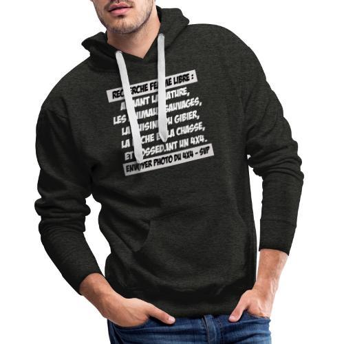 recherche femme libre v2 gris - Sweat-shirt à capuche Premium pour hommes