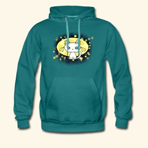 The Kitten and the Moon (white) - Männer Premium Hoodie