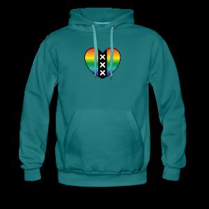 Hart Amsterdam in regenboog kleuren - Mannen Premium hoodie
