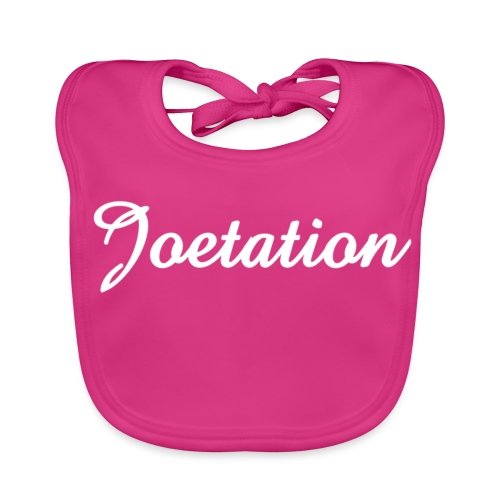 White Text Joetation Signature Brand - Baby Organic Bib