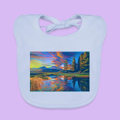 Paesaggio al tramonto con laghetto stilizzato - Bavaglino ecologico per neonato