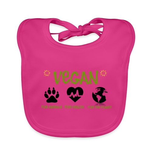 Vegan for animals, health and the environment. - Babero de algodón orgánico para bebés