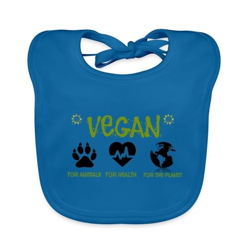 Vegan for animals, health and the environment. - Babero de algodón orgánico para bebés