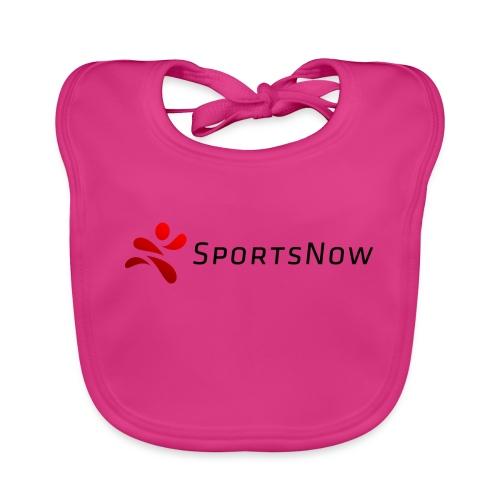 SportsNow-Logo mit schwarzer Schrift - Baby Bio-Lätzchen