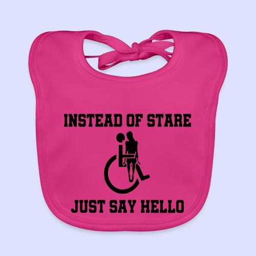 In plaats van staren mag je ook gedag zeggen - Bio-slabbetje voor baby's