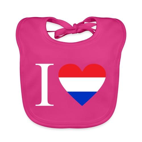 Ik hou van Nederland   Hart met rood wit blauw - Bio-slabbetje voor baby's