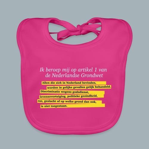 Nederlandse Grondwet T-Shirt - Artikel 1 - Bio-slabbetje voor baby's