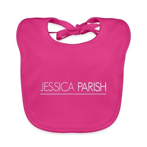 Jessica Parish Schriftzug weiß - Baby Bio-Lätzchen