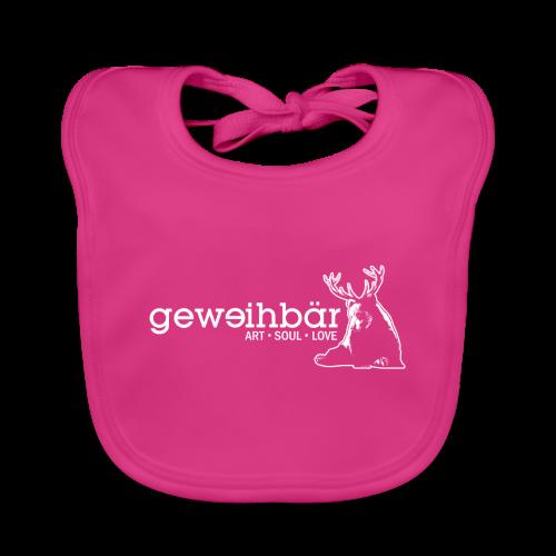 geweihbär - weiss - Baby Bio-Lätzchen