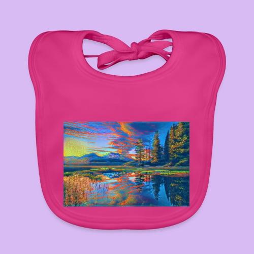 Paesaggio al tramonto con laghetto stilizzato - Bavaglino