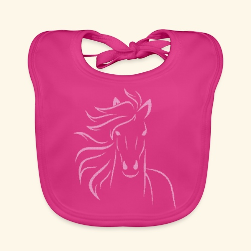 I love horses - Light stitched design - Baby Bio-Lätzchen