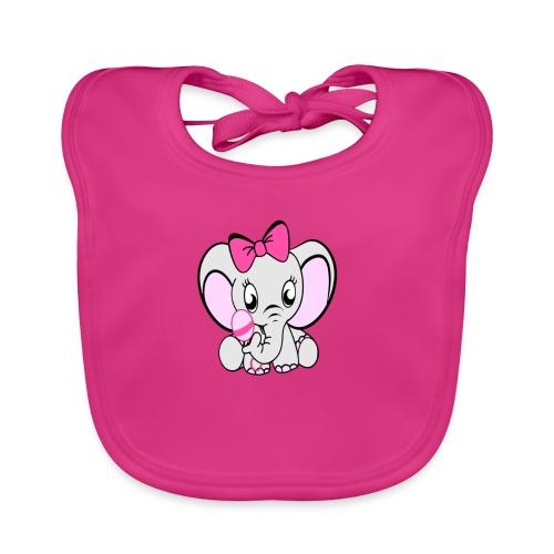 Baby olifantje met rammelaar en grote roze strik - Bio-slabbetje voor baby's