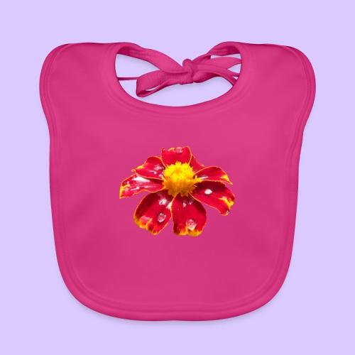 rote Ringelblume mit Regentropfen, Blume, Blüte - Baby Bio-Lätzchen