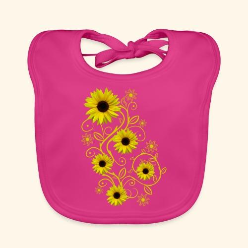 gelbe Sonnenblumen, Ornamente, Sonnenblume, Blumen - Baby Bio-Lätzchen