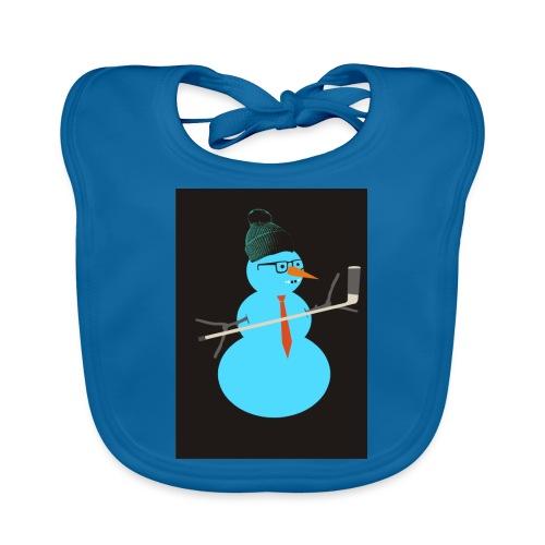 Hockey snowman - Vauvan luomuruokalappu