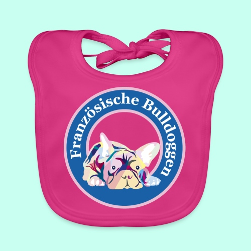 Französische Bulldoggen rosa blau - Baby Bio-Lätzchen