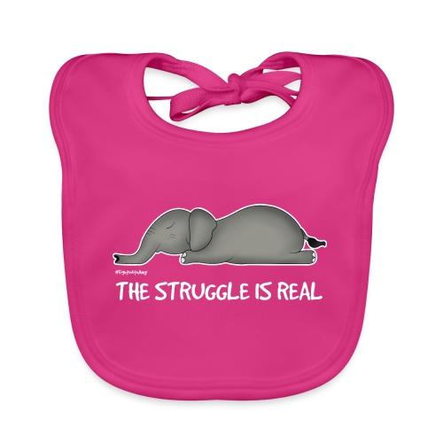 Amy's 'Struggle' design (white txt) - Organic Baby Bibs