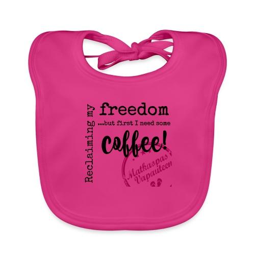 Kahvimuki Matkaopas Vapauteen, pun - Vauvan luomuruokalappu