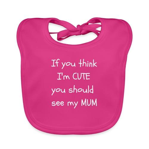 Cute Mum ( white text ) - Baby Organic Bib