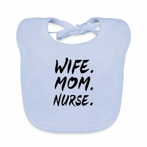 Black Design Wife Mom Nurse - Baby Bio-Lätzchen