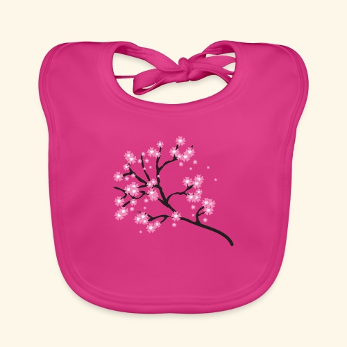Pink blossoms branch - Organic Baby Bibs