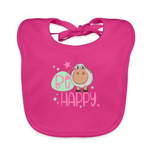 Be happy Schaf - Glückliches Schaf - Glücksschaf - Baby Bio-Lätzchen
