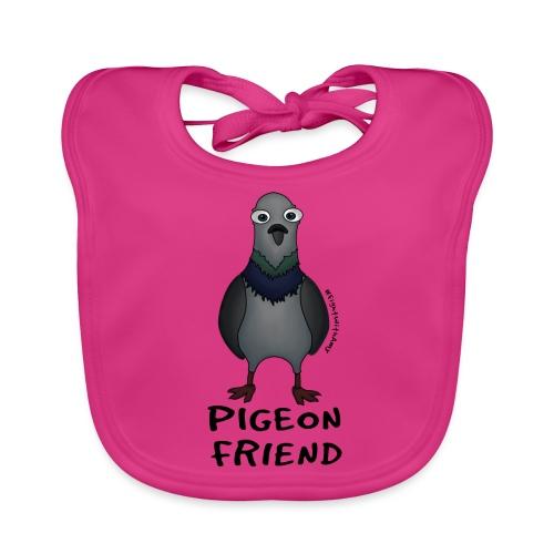 Amy's 'Pigeon Friend' design (black txt) - Organic Baby Bibs