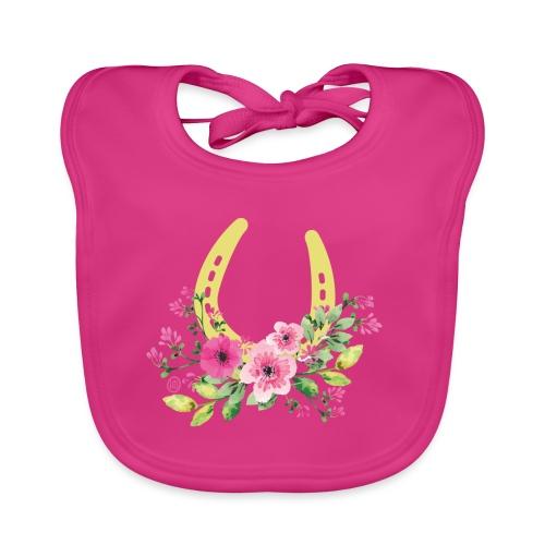 Blumen Hufeisen - Reitbekleidung - Baby Bio-Lätzchen
