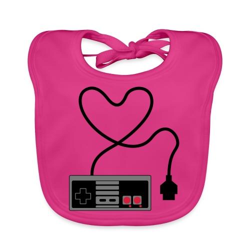 NES Controller Heart - Baby Organic Bib