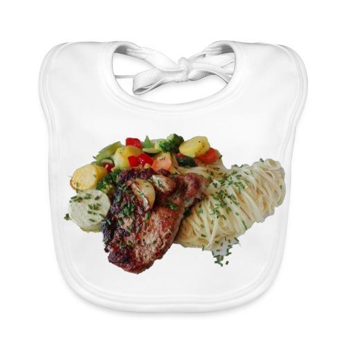 Steak mit Gemüse und Beilage - Baby Bio-Lätzchen