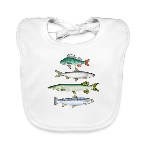 10-34 FOUR FISH - Ahven, siika, hauki ja taimen - Vauvan ruokalappu