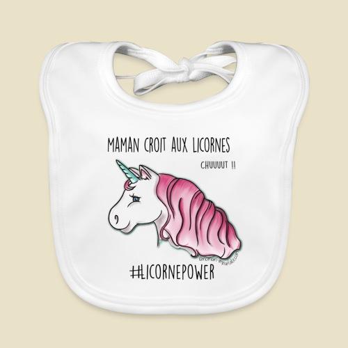 Maman croit aux licornes - Bavoir bio Bébé