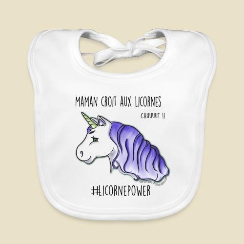 Maman croit aux licornes version bleue - Bavoir bio Bébé